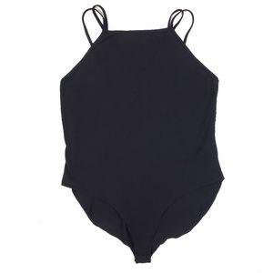 Asos Black Strappy Bodysuit Double Strap Knit